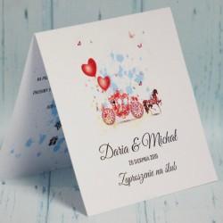 Zaproszenie ślubne Sofia, czerwona kareta