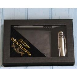 Zestaw dla mężczyzny portfel, otwieracz i długopis