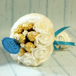 Cukierkowy bukiet z 7 Ferrero Rocher dla Taty