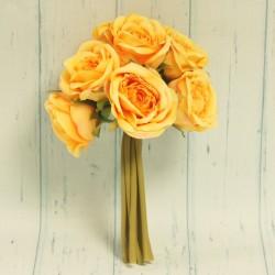 Sztuczne róże, 9 sztuk, pomarańczowe