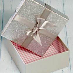 Pudełko prezentowe srebrne 14,5cm