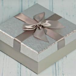 Pudełko prezentowe srebrne 16,5cm