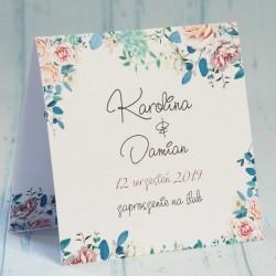 Zaproszenie ślubne z miętowymi kwiatami Carmen