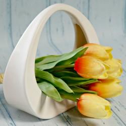 Koszyk ceramiczny kremowy mały