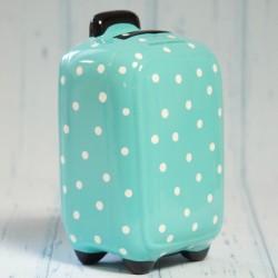 Skarbonka-walizka na kółkach miętowa