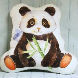 Panda ręcznie szyta poduszka.