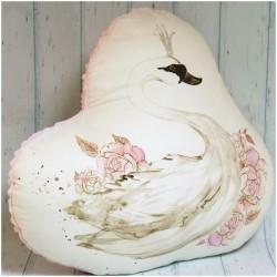 Łabędź ręcznie szyta poduszka