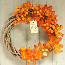 Wianek jesienny pomarańczowy 30 cm