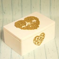 Skrzynka drewniana, ręcznie zdobiona, biała ze złotem
