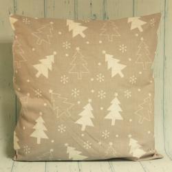 Poduszka świąteczna z choinkami, szaro-biała