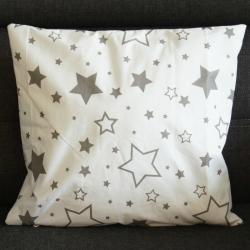 Poduszka świąteczna z gwiazdkami, biało-szara