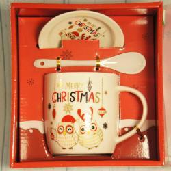Świąteczny kubek Merry Christmas z talerzykiem i łyżeczką