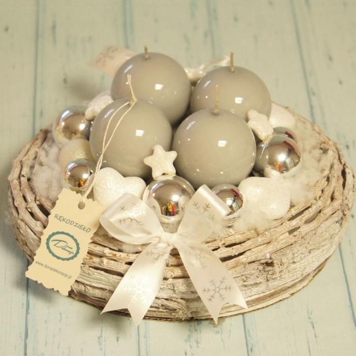 Świecznik gwiazdkowy, srebrno biały, rękodzieło