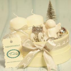 Flowerbox świecznik świąteczny mały, rękodzieło