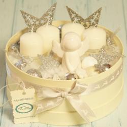 Flowerbox świecznik świąteczny duży, rękodzieło