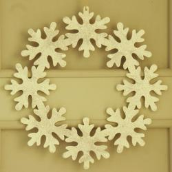 Wianek świąteczny, 8 śnieżynek  brokatowych