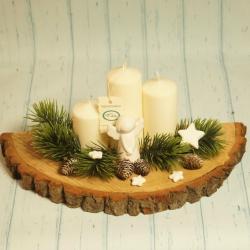 Świecznik z plastra drewna, rękodzieło
