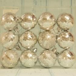 Bombki choinkowe srebrne, 5 cm, 12 szt.