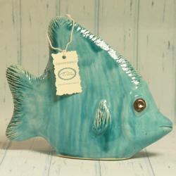 Ryba Skalar, turkusowa, ceramiczna, rękodzieło