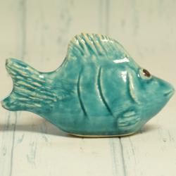 Ryba turkusowa, ceramiczna, rękodzieło