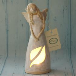 Anioł świecznik, podświetlana sukienka,rękodzieło