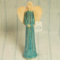 Anioł turkusowy, duży, ceramiczny, rękodzieło