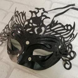 Maska karnawałowa czarna, z ornamentem