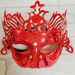 Maska karnawałowa czerwona, z ornamentem