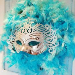 Maska karnawałowa srebrna, z ornamentem