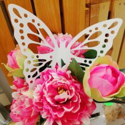 Motyl biały, ażurowy 20 cm