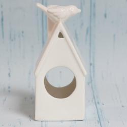 Domek świecznik, ceramiczny, mały, biały