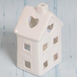 Domek świecznik, ceramiczny, biały