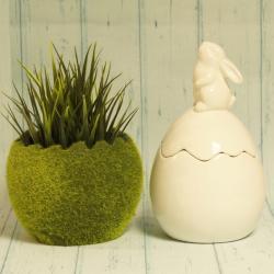 Jajko ceramiczne otwierane, z zającem