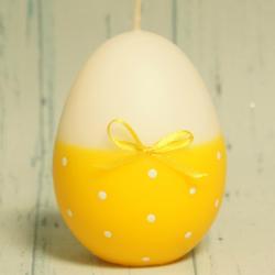 Świeczka jajko żółte w kropeczki