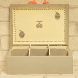 Pudełko na herbatę, drewniane, dzielone na 6 części