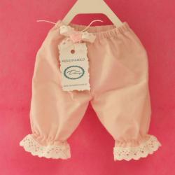 Spodnie z falbanką, ubranie dla króliczka, ręcznie szyte, różowe