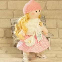 Laleczka ręcznie wykonana, biało-różowa