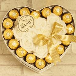 Flowerbox duże serce z cukierkami dla Mamy