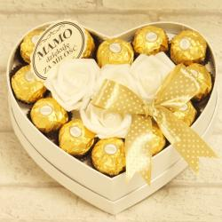 Flowerbox małe serce z cukierkami dla Mamy