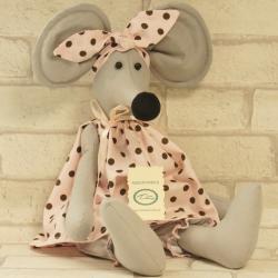 Myszka ręcznie szyta, w różowej sukience