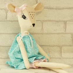 Sarenka ręcznie szyta, w turkusowej sukience