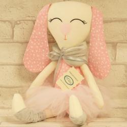 Króliczek ręcznie szyty, różowy, w tiulowej spódnicy