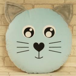 Kotek niebieski, ręcznie szyta poduszka
