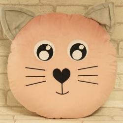Kotek różowy, ręcznie szyta poduszka