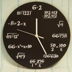 Zegar matematyka, czarny 30 cm