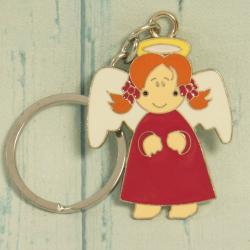Breloczek na klucze z aniołkiem czerwonym, brelok anioł, zawieszka z aniołem, donadekoracje.pl