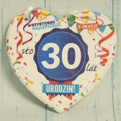 Tabliczka Serce na 30 urodziny, Wszystkiego najlepszego z okazji 30 Urodzin, donadekoracje.pl
