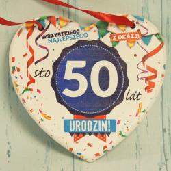 Tabliczka Serce na 50 urodziny: Wszystkiego najlepszego z okazji 50 Urodzin.