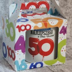 Kubek na 50 urodziny w kartoniku