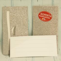 Koperta na pieniądze, podarunkowa, srebrna , koperta brokatowa, piękne koperty, donadekoracje.pl
